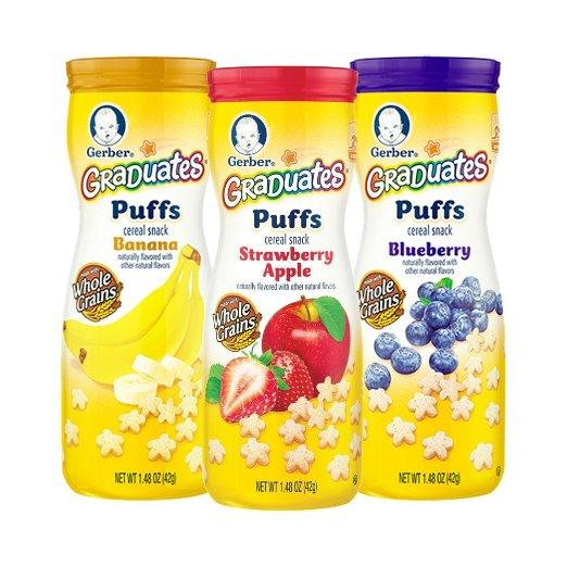 Gerber Graduates Puffs Cereal Snacks Variety Pack, 42g (Pack of 6)