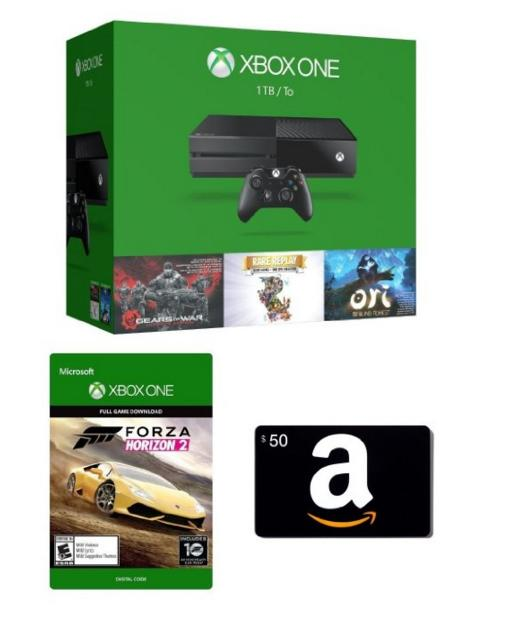 $399.00 Xbox One 1TB Console - 3 Games Holiday Bundle + Amazon.com $50 Gift Card (Physical Card) + Forza Horizon 2