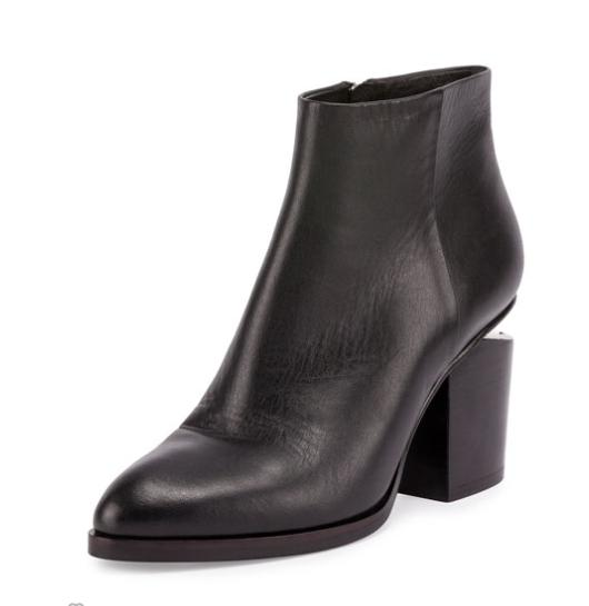 Alexander Wang Gabi Tilt-Heel Leather Boot, Black @ Neiman Marcus