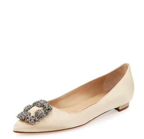 $125 Off with Manolo Blahnik Hangisi Crystal-Buckle Satin Flat @ Neiman Marcus
