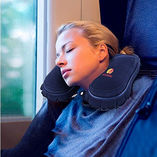 Andake Travel Inflatable Neck Pillow with Handy Carry Pouch