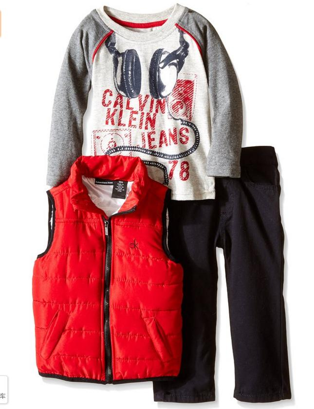 Calvin Klein Baby Boys' Puffy Vest, Tee and Pant Set