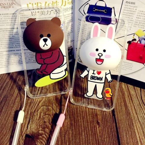 3D Cute Bear Brown Bunny Cony Stand Case Cover For iPhone 5/5s 6 6s 6Plus 6sPlus