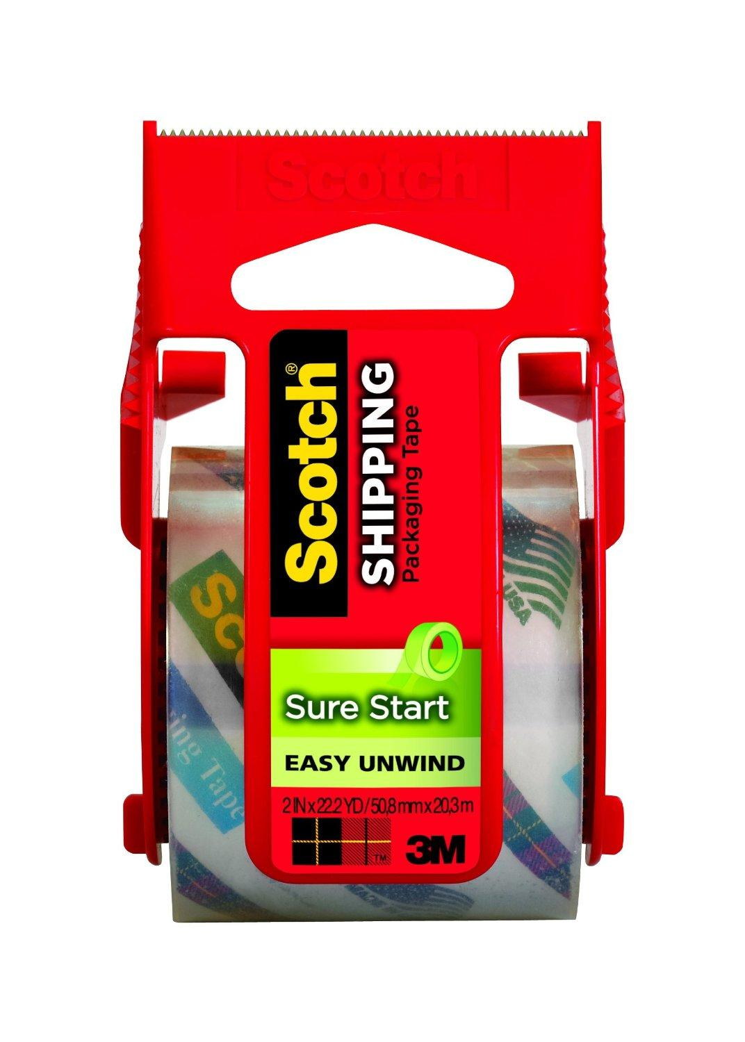 Scotch Sure Start Shipping Packaging Tape with Dispenser, 2 Inches x 800 Inches (145)