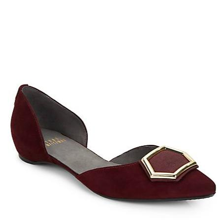 Stuart Weitzman Hexus Suede Point-Toe Flats