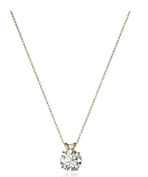 10k Gold Necklace Solitaire Swarovski Zirconia Pendant