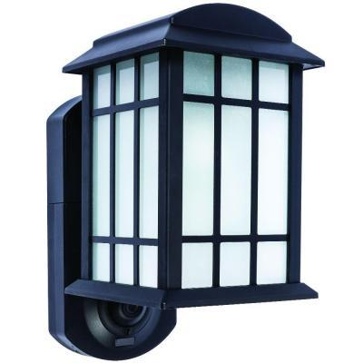 Maximus Smart Security Textured Black Metal and Glass Outdoor Wall Lantern