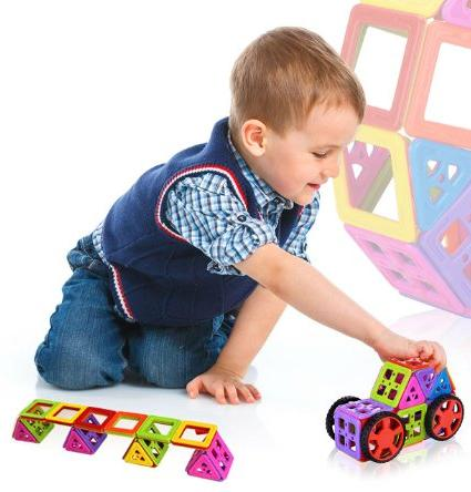 Newisland Magnetic Building Blocks Including Accessories, 66-piece @ Amazon