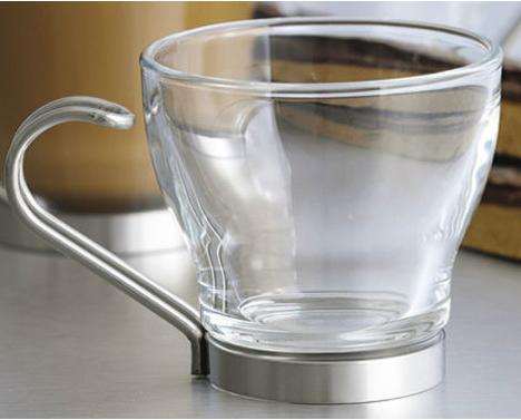 Bormioli Rocco Oslo Espresso Cup With Stainless Steel Handle, 3.5 ounce, Set of 4, Gift Boxed
