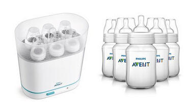 Philips AVENT Classic Plus BPA Free Polypropylene Bottles, 9 Ounce (Pack of 5) and 3-in-1 Sterilizer