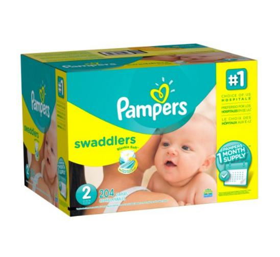 Prime only! Pampers Swaddlers Diapers, Size 2, One Month Supply, 204 Count