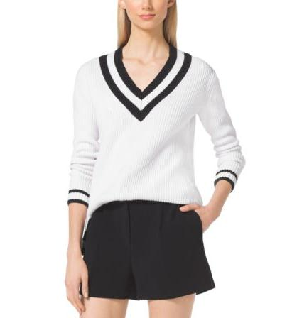MICHAEL MICHAEL KORS  Cotton-Blend V-Neck Sweater