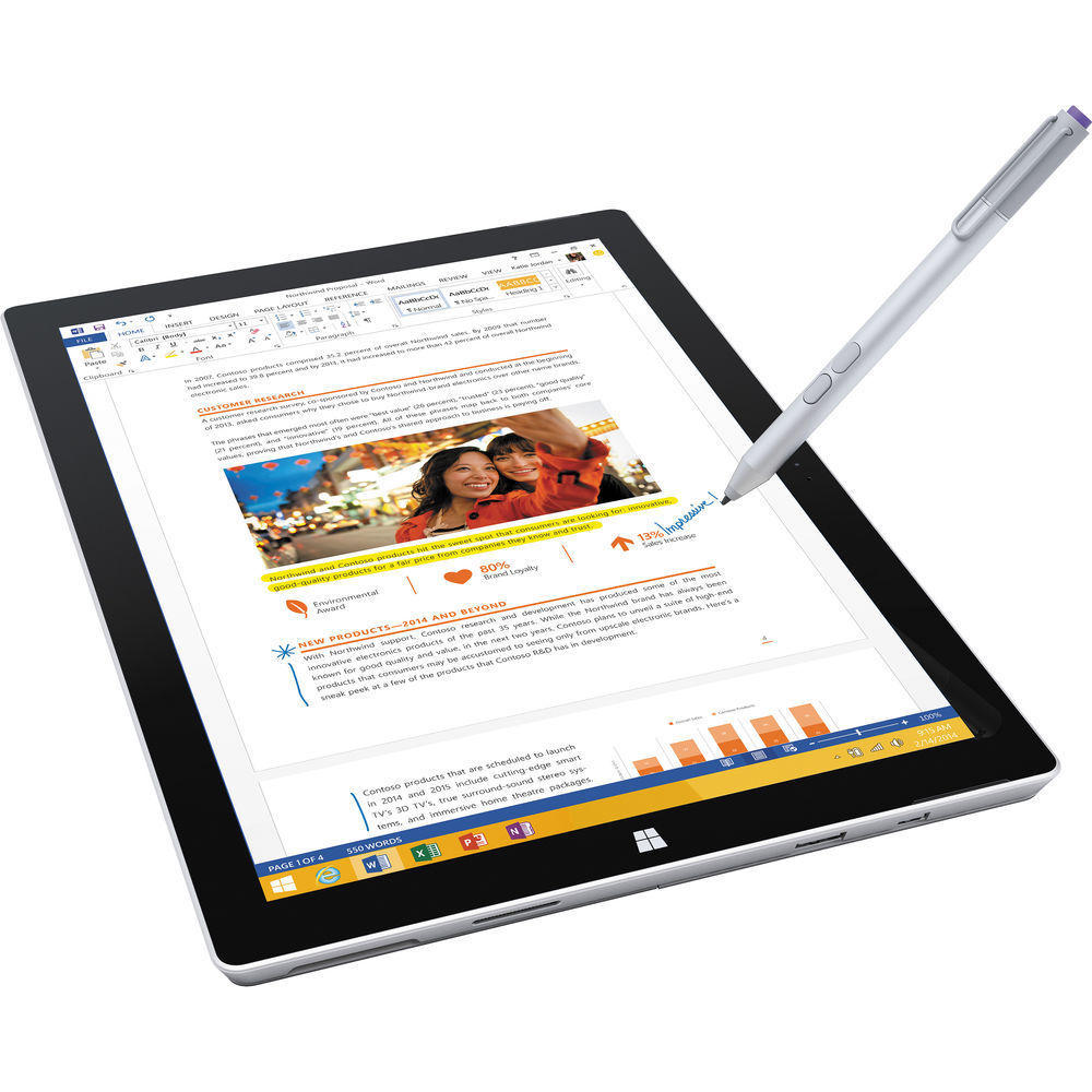 "$679.99 Microsoft Surface Pro 3 Tablet 12"" 128GB Intel Core i5"