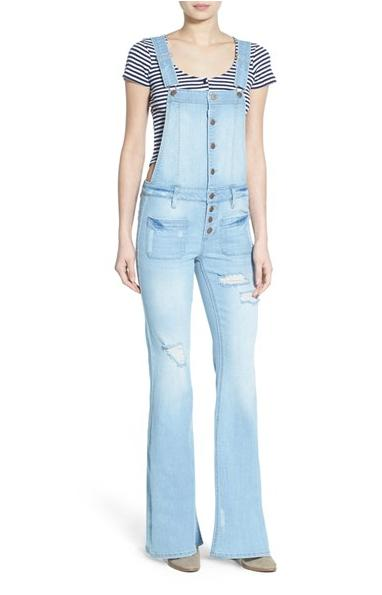 Love, Fire 'Vegabond' Distressed Denim Flare Overalls @ Nordstrom