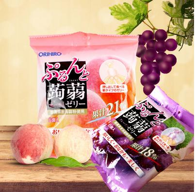 20% Off + Delivery from Japan Orihiro Puru's and konnyaku Jelly Grape/Peach 20 g × 6
