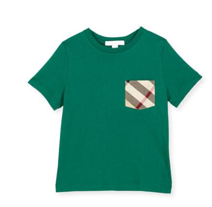Burberry  Check-Pocket Cotton Jersey Tee, Bright Bottle Green, Size 4-14 @ Bergdorf Goodman