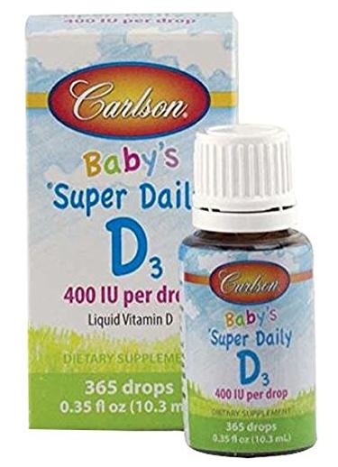 Carlson Labs Carlson Laboratories Super Daily D3 for Baby 400IU Supplement, 10.3 ml, 0.35 Fluid Ounce @ Amazon
