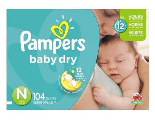 Amazon.com: Pampers Baby Dry Diapers, Size N, Super Pack, 104 Count: Health & Personal Care