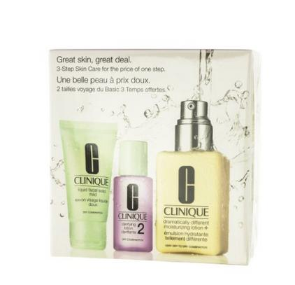 $31.46 Clinique 3 Piece 3 Step Skin Care Introduction Kit for Unisex