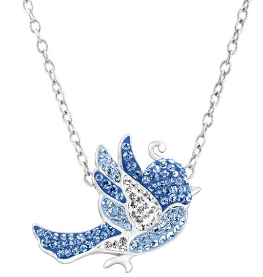 Bluebird Necklace with Swarovski Crystals