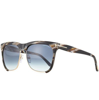 TOM FORD Thea Dual-Rimmed Sunglasses, Striped Gray @ Neiman Marcus
