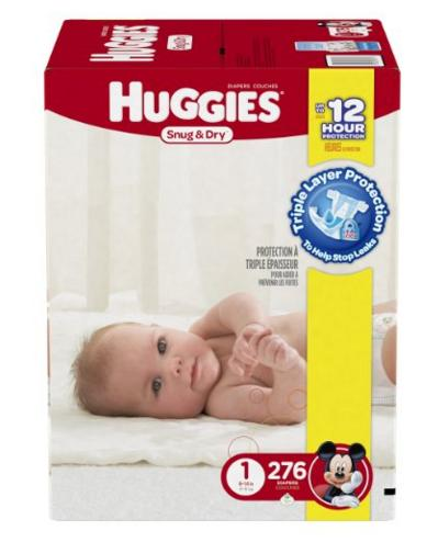 Huggies Snug and Dry Diapers, Size 1, Economy Plus Pack, 276 Count @ Amazon