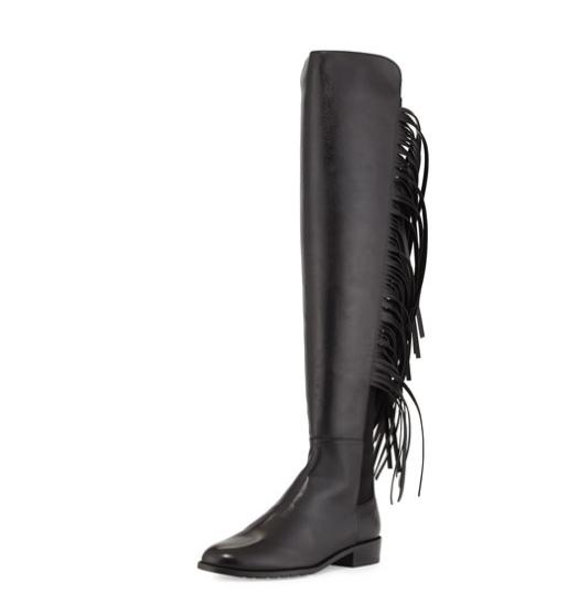Stuart Weitzman Mane Fringe Over-the-Knee Boot, Black @ Neiman Marcus