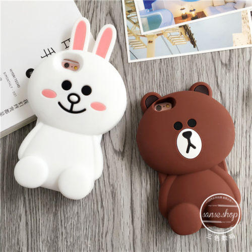 As low as $4.11 3D Soft Silicon Line Cute Bear Brown Bunny Cony Case For iPhone 5S/SE/6/6S/6S Plus