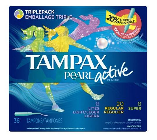 Tampax Pearl Active Plastic Triplepack Light/Regular/Super Absorbency, Unscented Tampons, 36 Count