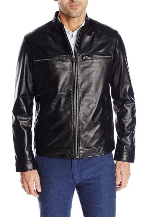 $156.00 Cole Haan Men's Smooth Leather Moto Jacket