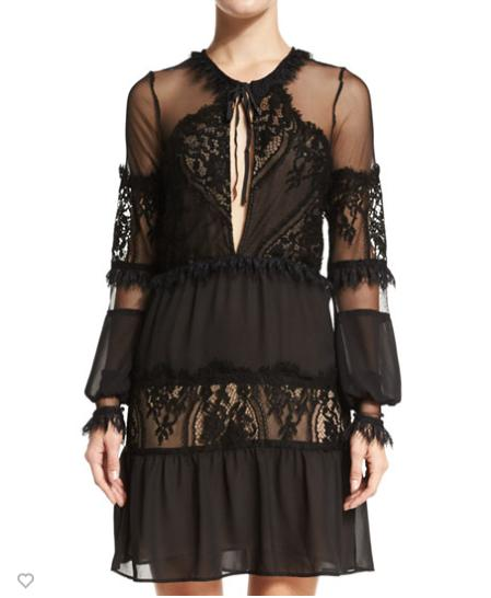 For Love & Lemons Alexa Lace-Inset Mini Dress, Black @ Neiman Marcus