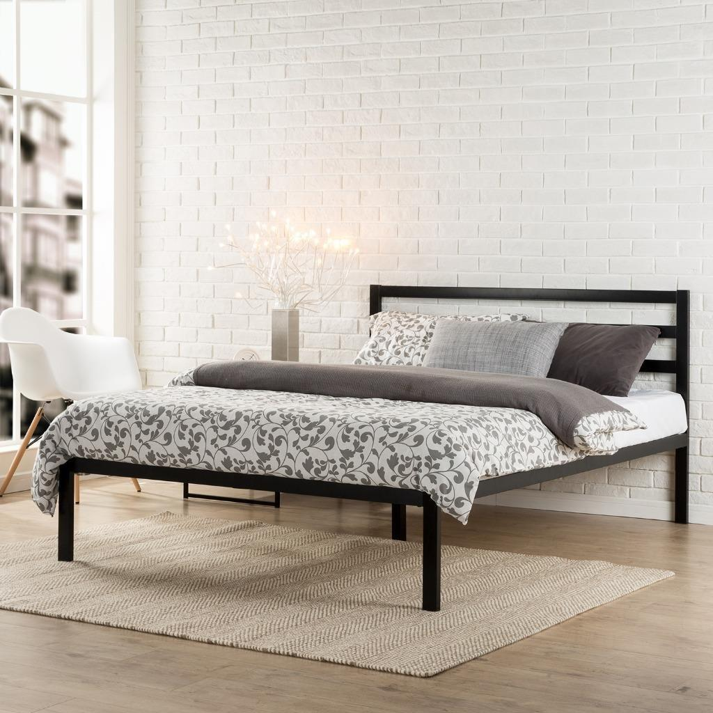 Zinus Modern Studio Platform 1500H Metal Bed Frame/Mattress Foundation with Headboard, Full