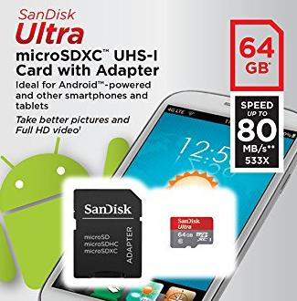 SanDisk Ultra 64GB microSDXC UHS-I Card with Adapter