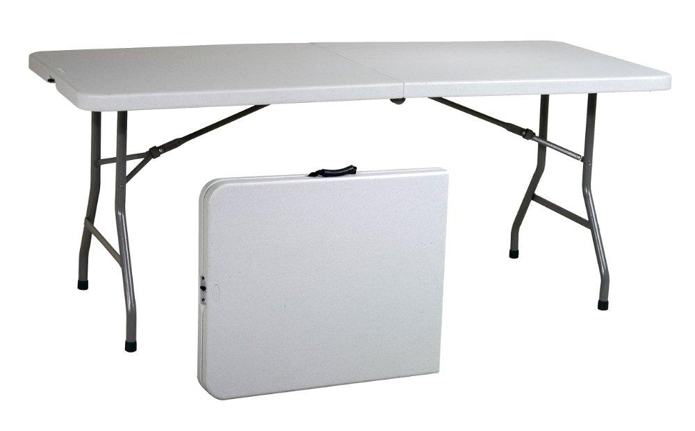 Work Smart Resin Multi-Purpose Center Folding Table, 6-Feet Long