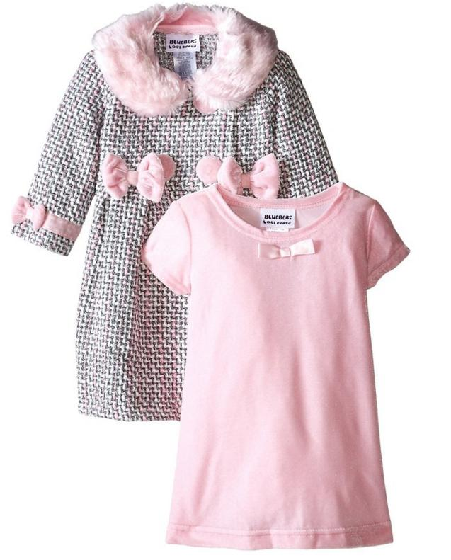 Blueberi Boulevard Baby Girls' Fur Coat Dress Set