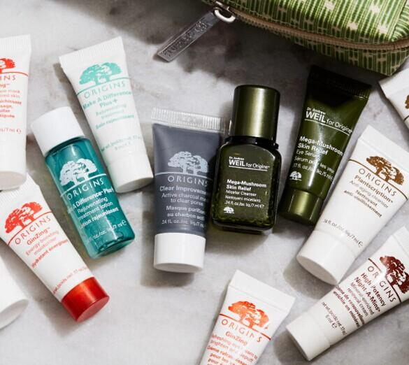 Pick 5 Free Minis + cosmetic bag with Any $30 Order @ Origins