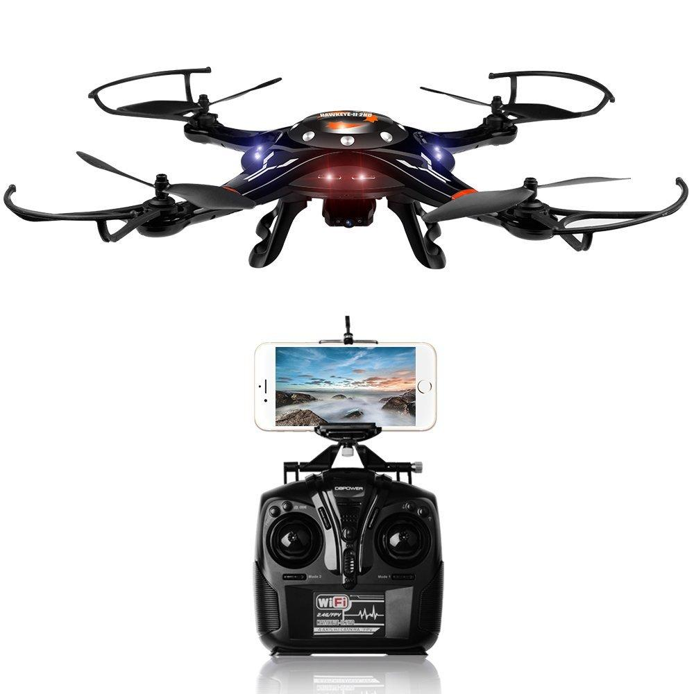 DBPOWER Upgraded FPV WiFi Motion-Sensing Control Hawkeye-II Quadcopter with One Key Taking-off & Landing Function and 720P HD Camera