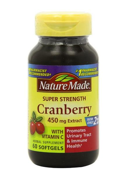 Nature Made Super Strength, Cranberry ( 450 mg Extract) with Vitamin C, 60 Softgels