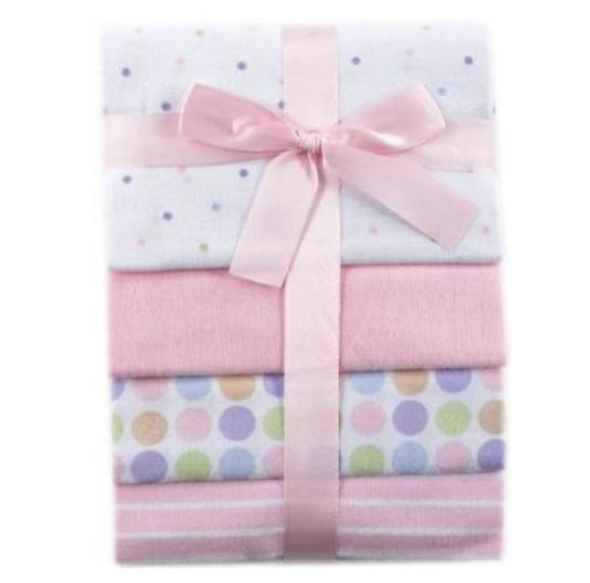 Luvable Friends 4-Pack Flannel Receiving Blankets, Pink: Baby