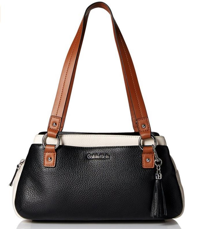 Lowest price! $101.99 Calvin Klein Pebble Leather Satchel Bag