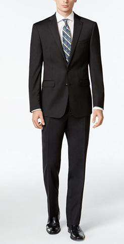 $127.49 Calvin Klein Solid Wool Charcoal Slim X Fit Suit