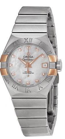 Omega Constellation Co-Axial Mother of Pearl Dial Ladies Watch OM12320272055004