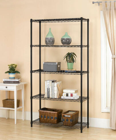 $44.99 Chrome/Black 5-Shelf Steel Wire Tier Layer Shelving 72
