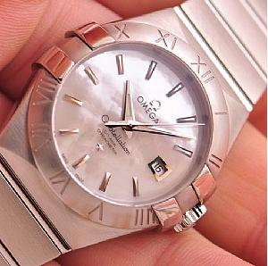 Omega Constellation Automatic White Mother of Pearl Dial Stainless Steel Ladies Watch 123.10.31.20.05.001