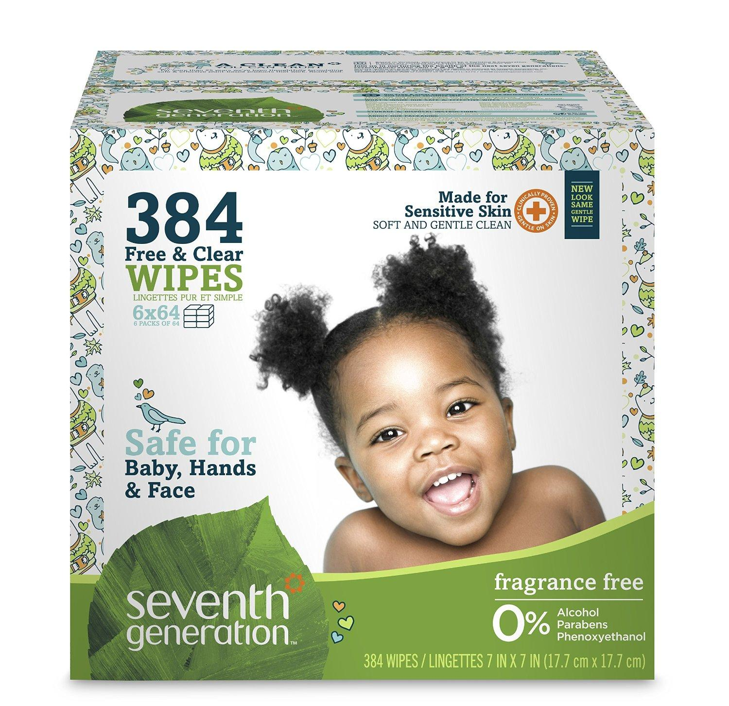 Seventh Generation Free and Clear Baby Wipes with Flip Top Dispenser, 384 Count
