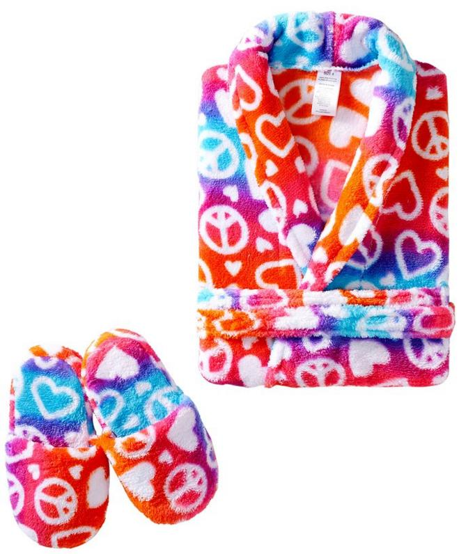 Sleep & Co Big Girls' Ombre Hearts Peace Robe with Slippers Set @ Amazon