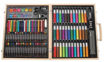 $11.95 Darice ArtyFacts Portable Art Studio, 131-Piece Deluxe Art Set With Wood Case
