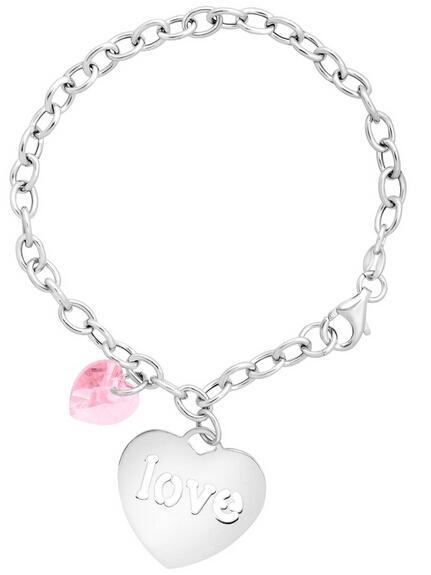 Charm Bracelet with 'Love' Charm & Swarovski Crystal