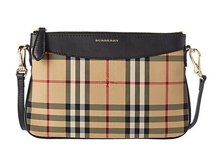 Burberry Peyton Horseferry Check & Leather Clutch Bag @ Rue La La