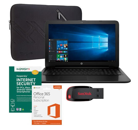$299.99 HP 15-ac142dx Touch-Screen Laptop, Microsoft Office 365, Internet Security Software, Sleeve & Flash Drive Package